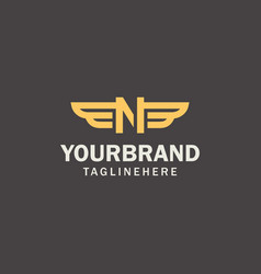 luxury gold wings initials logo design concept n vector image