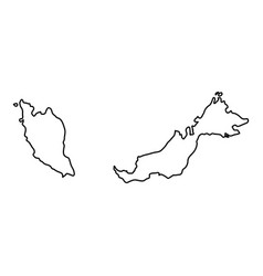 malaysia map of black contour curves of vector image