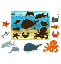 Match the animals and fish to their shadows vector image