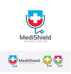Medical shield logo vector