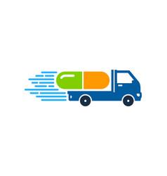 Medicine delivery logo icon design vector