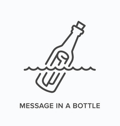 message in a bottle flat line icon outline vector image