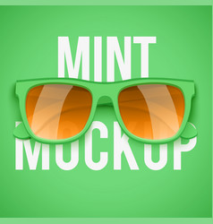 mint sunglasses on mint background vector image
