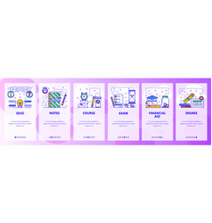 Mobile app onboarding screens education college vector