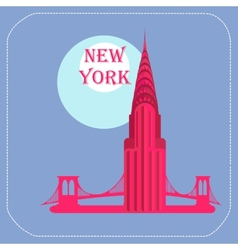 New york chrysler building icon flat vector