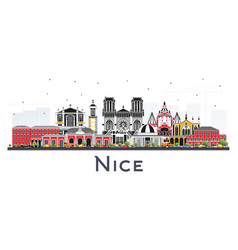 nice france city skyline with color buildings vector image