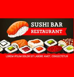 Nigiri sushi futomaki uramaki and gunkan rolls vector