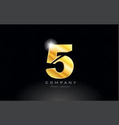 Number 5 gold golden metal logo icon design vector