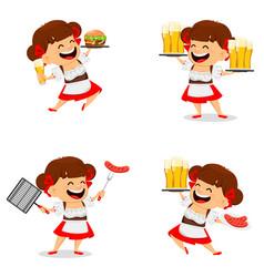 Oktoberfest beer festival funny woman vector
