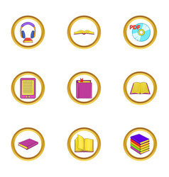 Online book icons set cartoon style vector