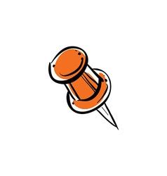 Orange pushpin isolated on white background vector