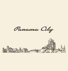 Panama big city skyline panama vintage hand drawn vector