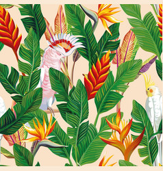 parrot flowers leaves seamless beige background vector image