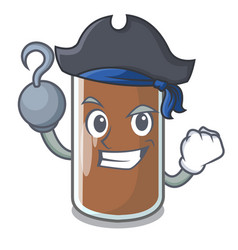 Pirate pouring chocolate milk from bottle cartoon vector