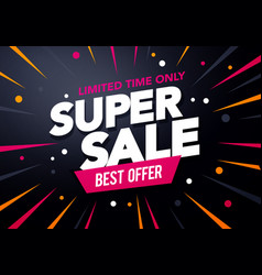 promotion big super sale banner discount design vector image