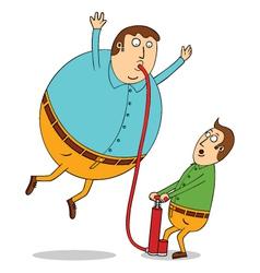 Pumping balloon man vector