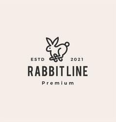 rabbit line outline monoline hipster vintage logo vector image