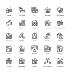 real estate line icons set 4 vector image
