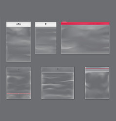 Realistic plastic bags with zippers sticky flaps vector