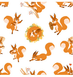 Seamless pattern with cute happy squirrels vector