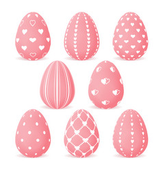 set of easter eggs with pink hearts vector image