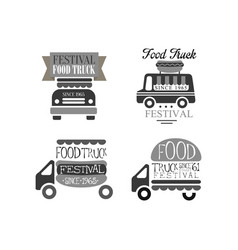 set of monochrome logos for food truck vector image