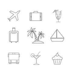 set of travel holiday icons vector image