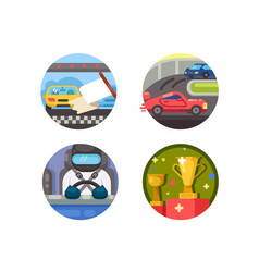 set race icons vector image