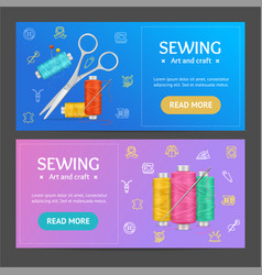 sewing banner horizontal set vector image