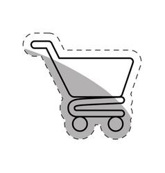 Shopping cart commerce online cut line vector