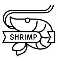 shrimp icon outline style vector image