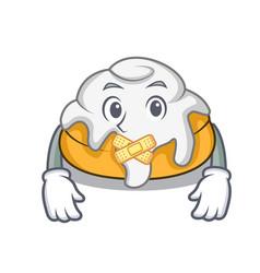 Silent cinnamon roll mascot cartoon vector
