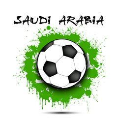Soccer ball and saudi arabia flag vector