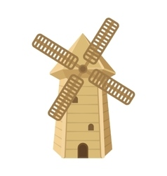 Spanish mill icon in cartoon style isolated on vector image