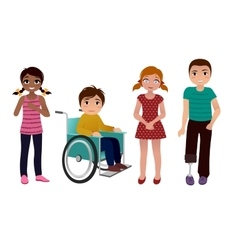 Special needs children happy set vector