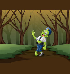Spooky zombies walk in the forest vector