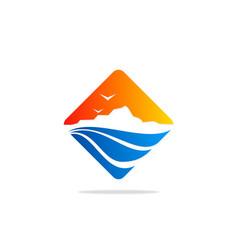 Square mountain logo vector