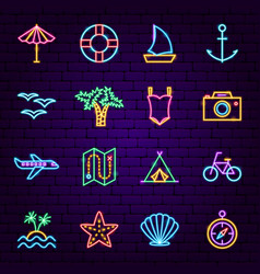 Summer travel neon icons vector