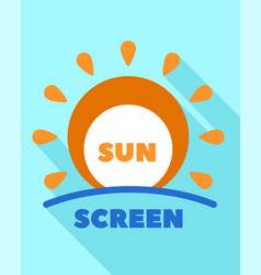Sunscreen cream logo flat style vector