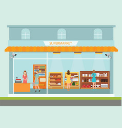 Supermarket building and interior with people vector