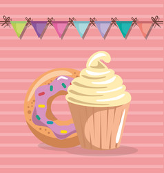 sweet and delicious cupcake with donut birthday vector image