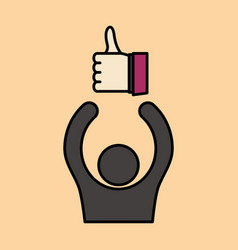 Thumbs up like social network facebook etc icon vector