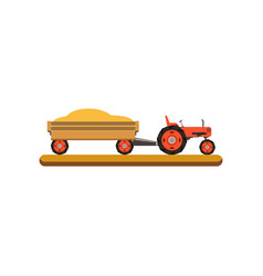 Tractor with trailer transporting grain vector