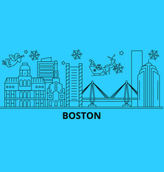 united states boston city winter holidays skyline vector image