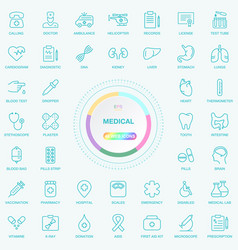universal web and internet medical line icons set vector image