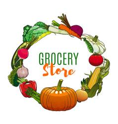 vegetables vegetarian food market grocery store vector image