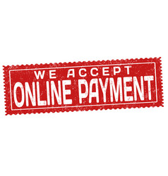 We accept online payment grunge rubber stamp vector