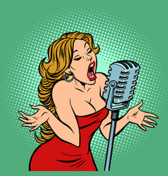 woman singer at microphone music concert vector image