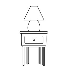 Wooden table with lamp decoration furniture icon vector