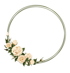 Wreath with beige rose vector